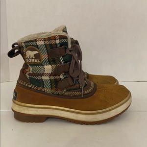 Authentic Sorel plaid & leather duck boots Sz 6